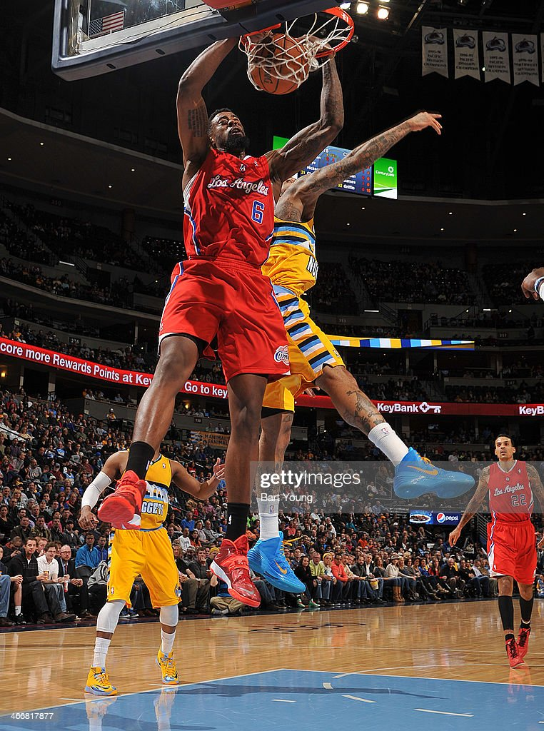 <a gi-track='captionPersonalityLinkClicked' href=/galleries/search?phrase=DeAndre+Jordan&family=editorial&specificpeople=4665718 ng-click='$event.stopPropagation()'>DeAndre Jordan</a> #6 of the Los Angeles Clippers dunks the ball against the Denver Nuggets on February 3, 2014 at the Pepsi Center in Denver, Colorado.