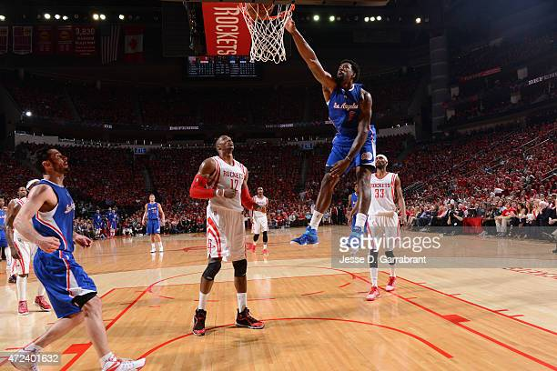 DeAndre Jordan of the Los Angeles Clippers dunks the ball against the Houston Rockets at the Toyota Center During Game Two of the Western Conference...