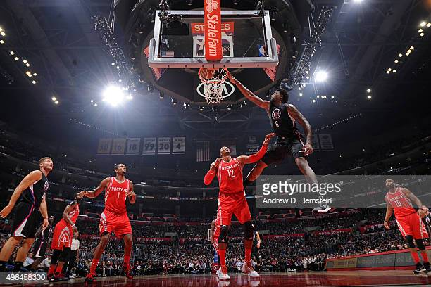 DeAndre Jordan of the Los Angeles Clippers dunks the ball against the Houston Rockets on November 7 2015 at STAPLES Center in Los Angeles California...