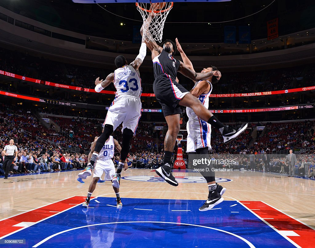 <a gi-track='captionPersonalityLinkClicked' href=/galleries/search?phrase=DeAndre+Jordan&family=editorial&specificpeople=4665718 ng-click='$event.stopPropagation()'>DeAndre Jordan</a> #6 of the Los Angeles Clippers dunks the ball against the Philadelphia 76ers at Wells Fargo Center on February 8, 2016 in Philadelphia, Pennsylvania