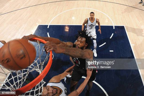 DeAndre Jordan of the Los Angeles Clippers dunks the ball against the Utah Jazz during Game Six of the Western Conference Quarterfinals of the 2017...
