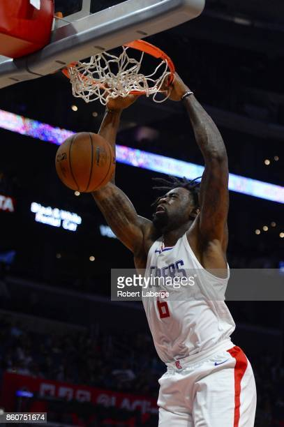 DeAndre Jordan of the Los Angeles Clippers dunks the ball against the Sacramento Kings on October 12 2017 at STAPLES Center in Los Angeles California...