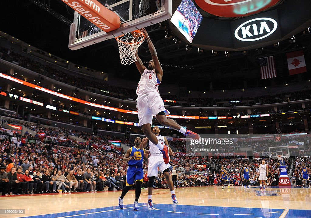 <a gi-track='captionPersonalityLinkClicked' href=/galleries/search?phrase=DeAndre+Jordan&family=editorial&specificpeople=4665718 ng-click='$event.stopPropagation()'>DeAndre Jordan</a> #6 of the Los Angeles Clippers dunks the ball during the game between the Los Angeles Clippers and the Golden State Warriors at Staples Center on January 5, 2013 in Los Angeles, California.