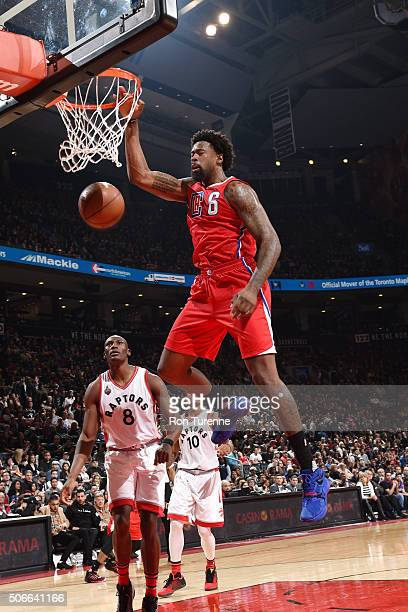 DeAndre Jordan of the Los Angeles Clippers dunks the ball during the game against the Toronto Raptors on January 24 2016 at the Air Canada Centre in...