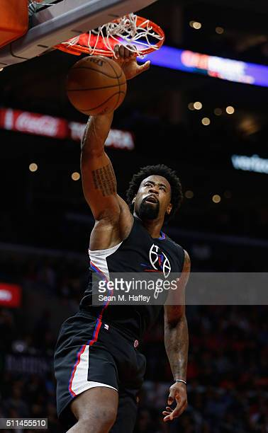 DeAndre Jordan of the Los Angeles Clippers dunks the ball during the second half of a game agains the Golden State Warriors at Staples Center on...