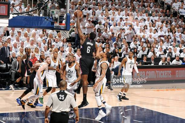 DeAndre Jordan of the Los Angeles Clippers dunks the ball during the game against the Utah Jazz during the Western Conference Quarterfinals of the...