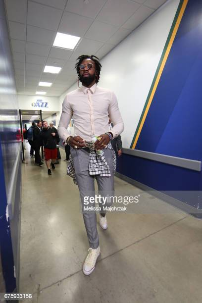 DeAndre Jordan of the Los Angeles Clippers enters the arena before the game against the Utah Jazz at vivintSmartHome Arena on April 28 2017 in Salt...