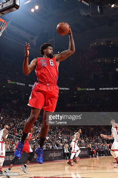 DeAndre Jordan of the Los Angeles Clippers gets the rebound during the game against the Toronto Raptors on January 24 2016 at the Air Canada Centre...