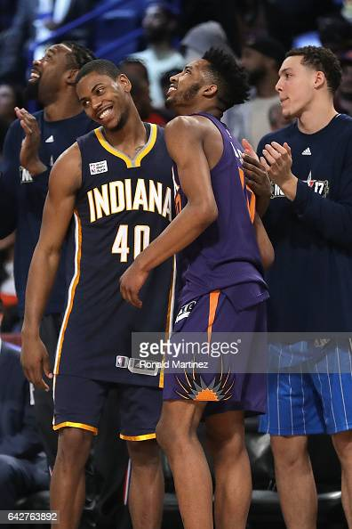 DeAndre Jordan of the Los Angeles Clippers Glenn Robinson III of the Indiana Pacers Derrick Jones Jr #10 of the Phoenix Suns and Aaron Gordon of the...