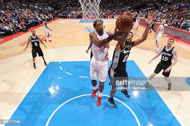 DeAndre Jordan of the Los Angeles Clippers goes for the layup against the San Antonio Spurs during the game on November 10 2014 at STAPLES CENTER in...
