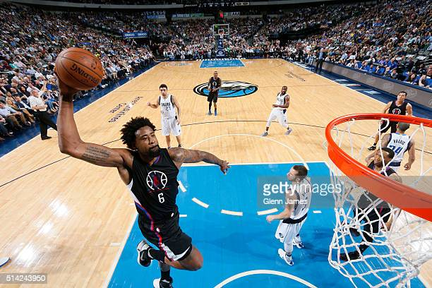 DeAndre Jordan of the Los Angeles Clippers goes in for the dunk against the Dallas Mavericks on March 7 2016 at the American Airlines Center in...