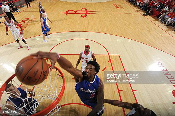DeAndre Jordan of the Los Angeles Clippers goes to the basket against the Houston Rockets in Game Seven of the Western Conference Semifinals during...