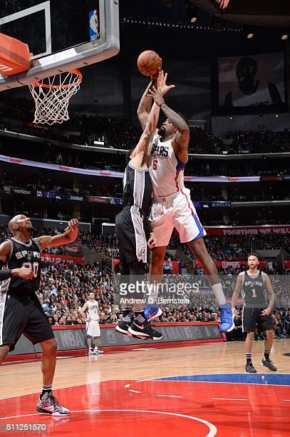 DeAndre Jordan of the Los Angeles Clippers goes to the basket against the San Antonio Spurs on February 18 2016 at STAPLES Center in Los Angeles...