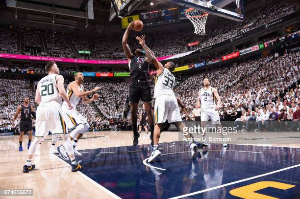 DeAndre Jordan of the Los Angeles Clippers goes to the basket against the Utah Jazz during Game Six of the Western Conference Quarterfinals of the...
