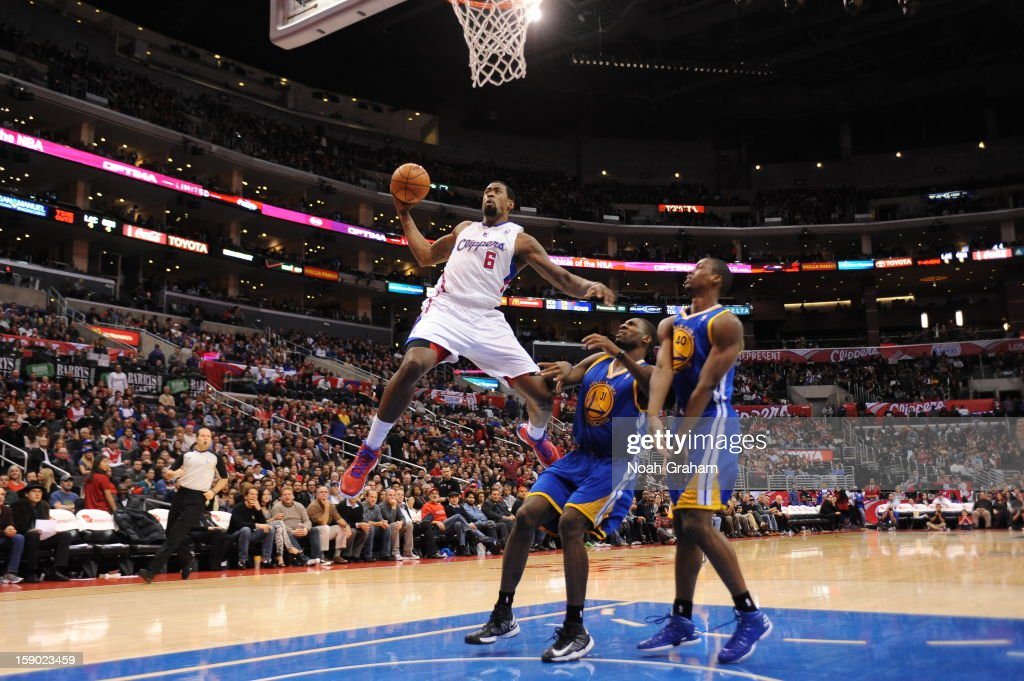<a gi-track='captionPersonalityLinkClicked' href=/galleries/search?phrase=DeAndre+Jordan&family=editorial&specificpeople=4665718 ng-click='$event.stopPropagation()'>DeAndre Jordan</a> #6 of the Los Angeles Clippers goes to the basket during the game between the Los Angeles Clippers and the Golden State Warriors at Staples Center on January 5, 2013 in Los Angeles, California.