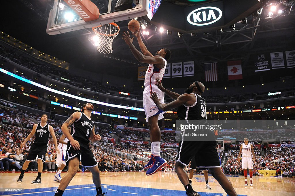DeAndre Jordan #6 of the Los Angeles Clippers goes to the basket during the game between the Los Angeles Clippers and the Brooklyn Nets at Staples Center on March 23, 2013 in Los Angeles, California.