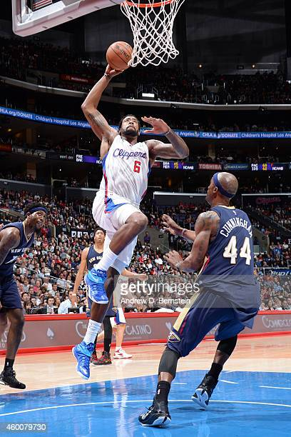 DeAndre Jordan of the Los Angeles Clippers goes up for a dunk against the New Orleans Pelicans on December 6 2014 in Los Angeles California NOTE TO...