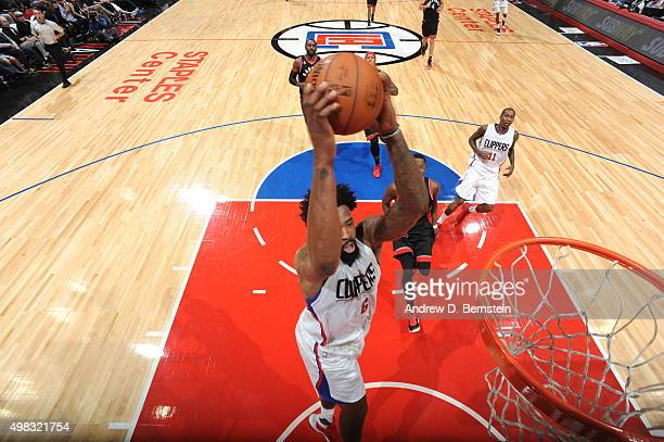 DeAndre Jordan of the Los Angeles Clippers goes up for a dunk against the Toronto Raptors on November 22 2015 at STAPLES Center in Los Angeles...