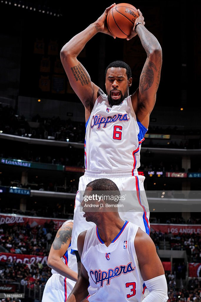 DeAndre Jordan #6 of the Los Angeles Clippers grabs a rebound against the Washington Wizards at Staples Center on January 19, 2013 in Los Angeles, California.
