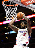 DeAndre Jordan of the Los Angeles Clippers grabs a rebound during the game against the Toronto Raptors at Staples Center on December 27 2014 in Los...