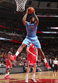 DeAndre Jordan of the Los Angeles Clippers grabs the rebound against the Chicago Bulls during the game on March 1 2015 at the Toyota Center in...