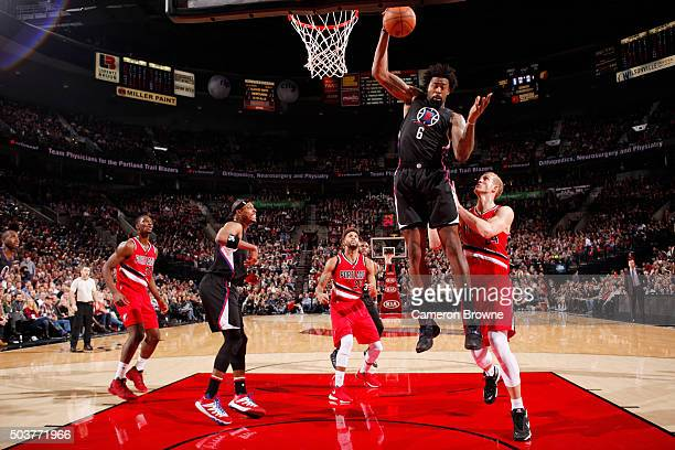 DeAndre Jordan of the Los Angeles Clippers grabs the rebound against the Portland Trail Blazers on October 8 2016 at the Moda Center in Portland...