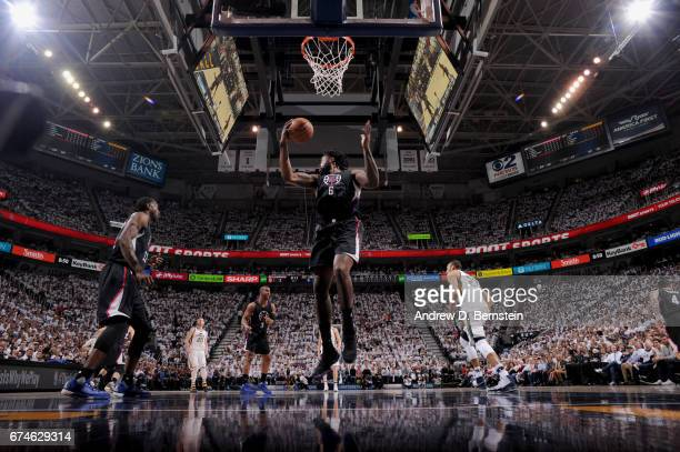 DeAndre Jordan of the Los Angeles Clippers grabs the rebound against the Utah Jazz during Game Six of the Western Conference Quarterfinals of the...
