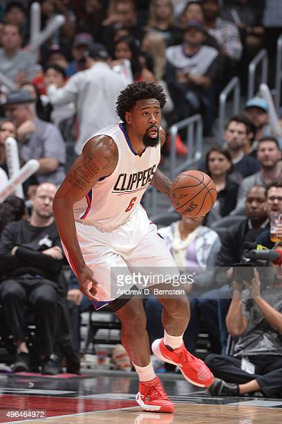 DeAndre Jordan of the Los Angeles Clippers handles the ball against the Memphis Grizzlies during the game on November 9 2015 at STAPLES Center in Los...