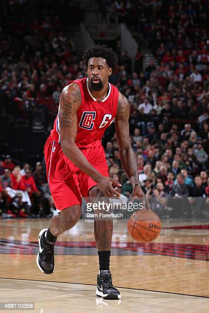 DeAndre Jordan of the Los Angeles Clippers handles the ball against the Portland Trail Blazers on November 20 2015 at the Moda Center in Portland...