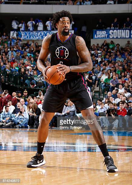 DeAndre Jordan of the Los Angeles Clippers handles the ball against the Dallas Mavericks on March 7 2016 at the American Airlines Center in Dallas...