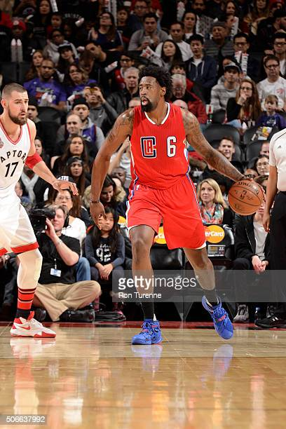 DeAndre Jordan of the Los Angeles Clippers handles the ball during the game against the Toronto Raptors on January 24 2016 at the Air Canada Centre...