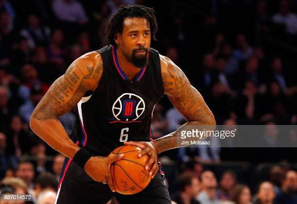 DeAndre Jordan of the Los Angeles Clippers in action against the New York Knicks at Madison Square Garden on February 8 2017 in New York City The...