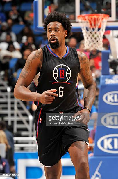 DeAndre Jordan of the Los Angeles Clippers looks on during the game against the Orlando Magic on February 5 2016 at Amway Center in Orlando Florida...