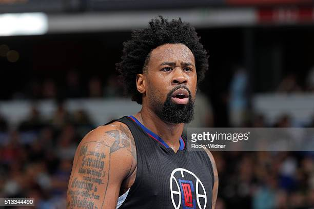 DeAndre Jordan of the Los Angeles Clippers looks on during the game against the Sacramento Kings on February 26 2016 at Sleep Train Arena in...