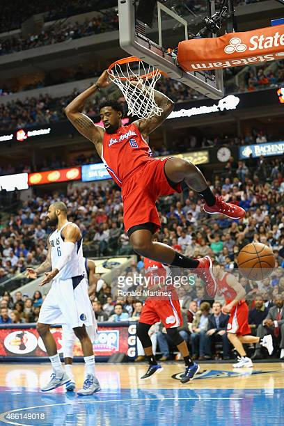 DeAndre Jordan of the Los Angeles Clippers makes the dunk against the Dallas Mavericks at American Airlines Center on March 13 2015 in Dallas Texas...