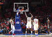 DeAndre Jordan of the Los Angeles Clippers misses a free throw against the San Antonio Spurs during Game Two of the Western Conference quarterfinals...