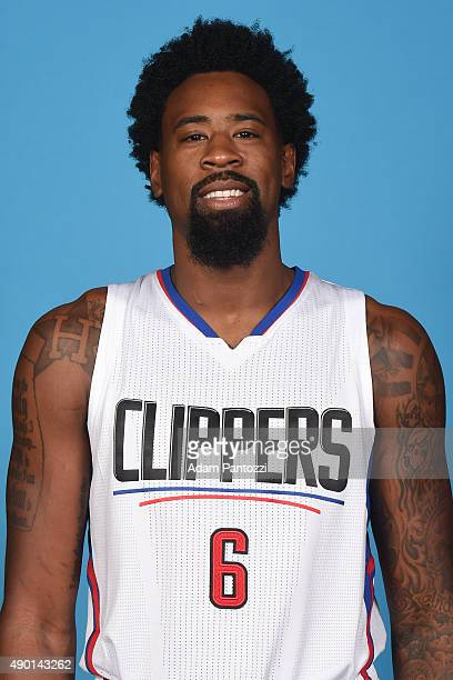 DeAndre Jordan of the Los Angeles Clippers poses for a headshot during media day at the Los Angeles Clippers Training Center on September 25 2015 in...
