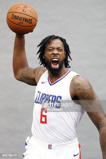 DeAndre Jordan of the Los Angeles Clippers poses for a photo during media day at the Los Angeles Clippers Training Center on September 25 2017 in...