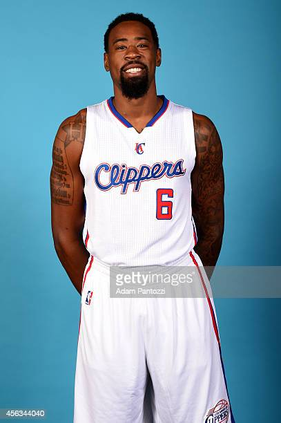 DeAndre Jordan of the Los Angeles Clippers poses for a portrait during the Los Angeles Clippers Media Day at the Los Angeles Clippers Training...