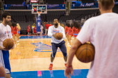 DeAndre Jordan of the Los Angeles Clippers practices free throws before the game against the Dallas Mavericks on April 3 2014 at Staples Center in...