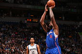 DeAndre Jordan of the Los Angeles Clippers prepares to shoot a free throw against the Minnesota Timberwolves on March 2 2015 at Target Center in...