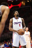 DeAndre Jordan of the Los Angeles Clippers prepares to shoot a free throw after being intentionally fouled by the San Antonio Spurs during the second...