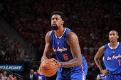 DeAndre Jordan of the Los Angeles Clippers prepares to shoot a free throw against the Houston Rockets in Game One of the Western Conference...