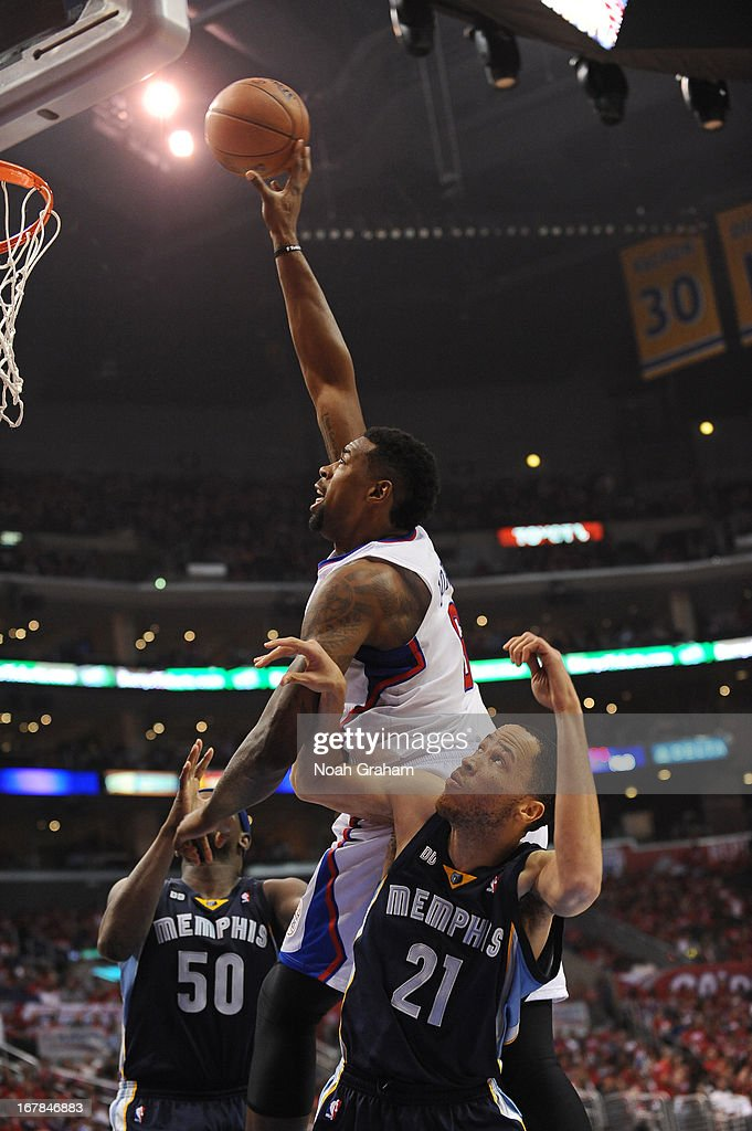 <a gi-track='captionPersonalityLinkClicked' href=/galleries/search?phrase=DeAndre+Jordan&family=editorial&specificpeople=4665718 ng-click='$event.stopPropagation()'>DeAndre Jordan</a> #6 of the Los Angeles Clippers puts up a shot against the Memphis Grizzlies at Staples Center in Game Five of the Western Conference Quarterfinals during the 2013 NBA Playoffs on April 30, 2013 in Los Angeles, California.