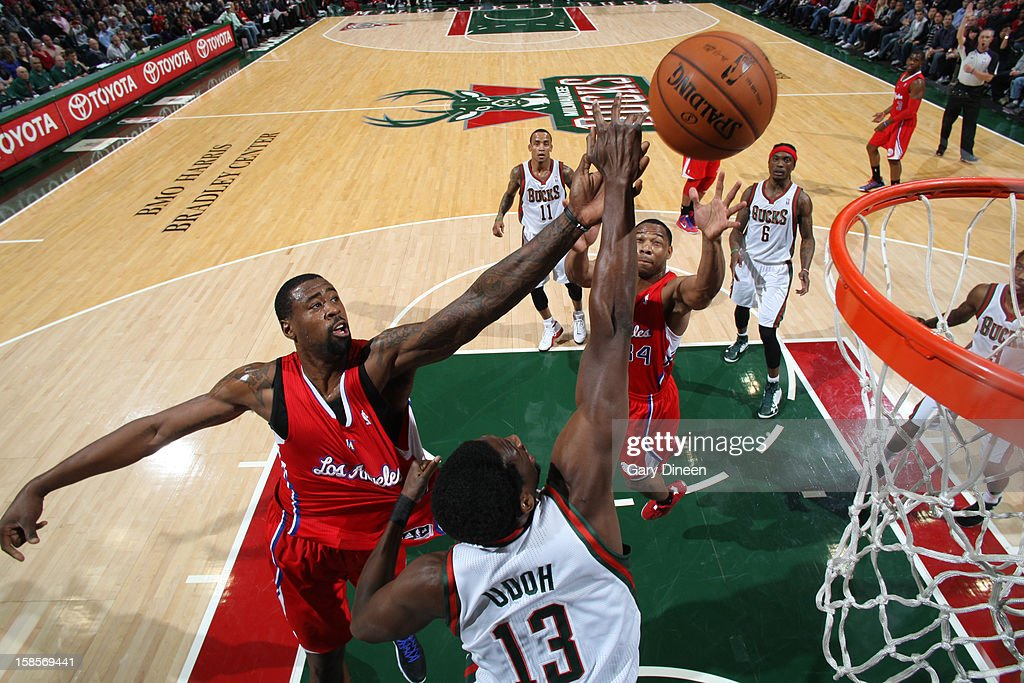 <a gi-track='captionPersonalityLinkClicked' href=/galleries/search?phrase=DeAndre+Jordan&family=editorial&specificpeople=4665718 ng-click='$event.stopPropagation()'>DeAndre Jordan</a> #6 of the Los Angeles Clippers puts up a shot over <a gi-track='captionPersonalityLinkClicked' href=/galleries/search?phrase=Ekpe+Udoh&family=editorial&specificpeople=4185351 ng-click='$event.stopPropagation()'>Ekpe Udoh</a> #13 of the Milwaukee Bucks on December 15, 2012 at the BMO Harris Bradley Center in Milwaukee, Wisconsin.