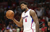 DeAndre Jordan of the Los Angeles Clippers reacts after being called for a foul against the San Antonio Spurs during Game Five of the Western...
