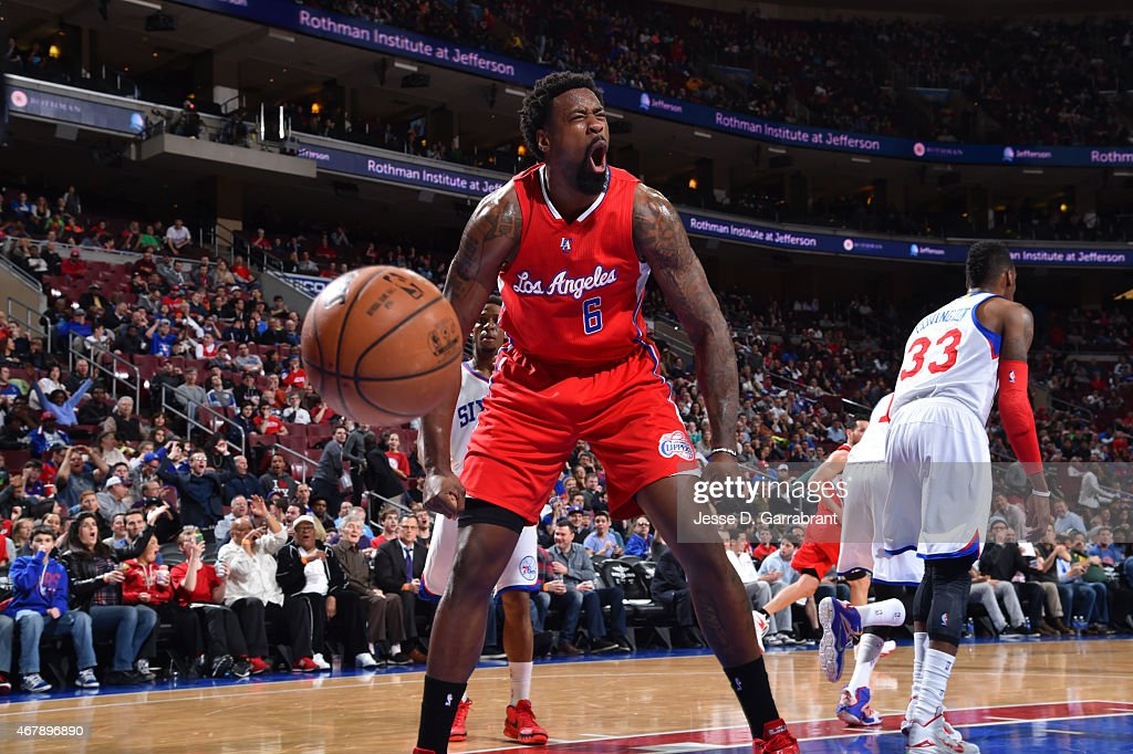 <a gi-track='captionPersonalityLinkClicked' href=/galleries/search?phrase=DeAndre+Jordan&family=editorial&specificpeople=4665718 ng-click='$event.stopPropagation()'>DeAndre Jordan</a> #6 of the Los Angeles Clippers reacts after dunking the ball against the Philadelphia 76ers at Wells Fargo Center on March 27, 2015 in Philadelphia, Pennsylvania