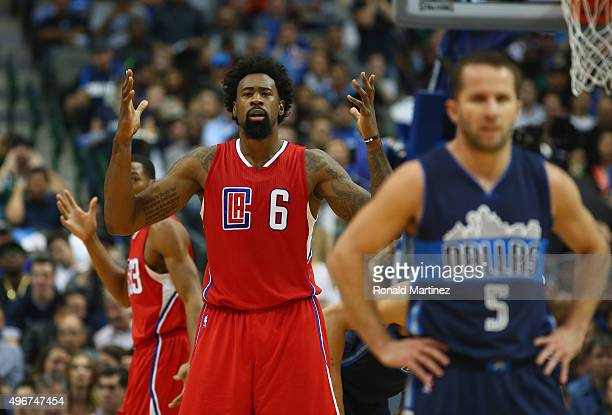 DeAndre Jordan of the Los Angeles Clippers reacts during play against the Dallas Mavericks in the first half at American Airlines Center on November...