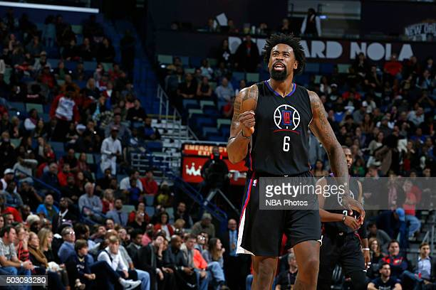 DeAndre Jordan of the Los Angeles Clippers reacts during the game against the New Orleans Pelicans on December 31 2015 at the Smoothie King Center in...