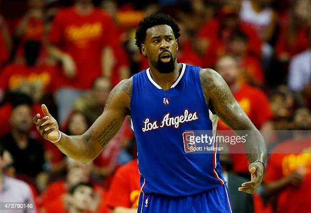 DeAndre Jordan of the Los Angeles Clippers reacts in the third quarter against the Houston Rockets during Game Seven of the Western Conference...